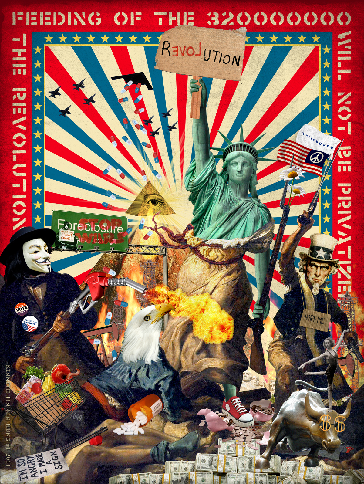 Wall Street Bull Art occupy wall street posters » kenneth tin-kin hung » kenneth tin
